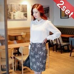 Styleberry - Set: Lace Chiffon Top + Peplum Pencil Skirt