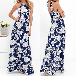 Flobo - Sleeveless Cutout Printed Maxi Dress