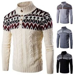 Blueforce - Patterned Panel Cable-Knit High Neck Sweater