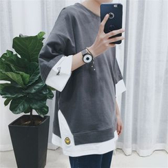 JUN.LEE - Embroidered Mock Two-Piece 3/4 Sleeve T-Shirt