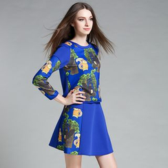 Cherry Dress - Set: Long-Sleeve Print Top + Skirt