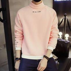 Masowild - Lettering Embroidered Turtleneck Sweatshirt