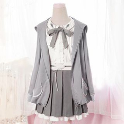 GOGO Girl - Set : Tie-collar Blouse + Pleated Skirt
