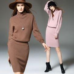 Y:Q - Set: Plain Turtleneck Knit Top + Skirt