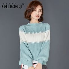 OUBO - 撞色高領厚毛衣