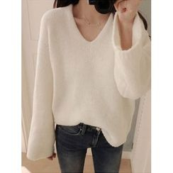 maybe-baby - V-Neck Loose-Fit Knit Top