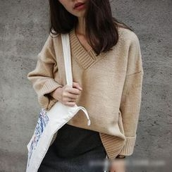 Polaris - Plain V-Neck Sweater