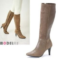MODELSIS - Genuine Leather Zip-Up Long Boots