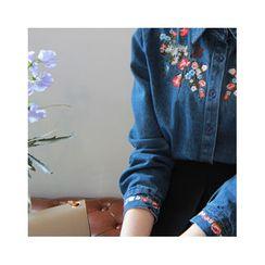 LEELIN - Floral Embroidered Denim Shirt