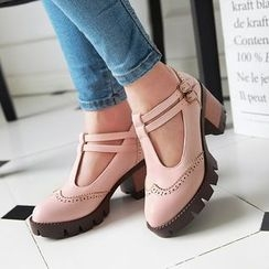 Pretty in Boots - Brogue Chunky Heel T-Bar Shoes