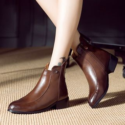 JY Shoes - Faux Leather Chunky Heel Ankle Boots