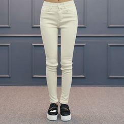 DANI LOVE - Button-Front Brushed-Fleece Lined Skinny Pants