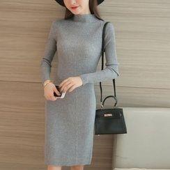 Cotton Candy - Long-Sleeve Mock Neck KNit Dress
