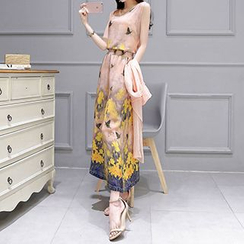 Lavogo - Set: 3/4 Sleeve Long Light Jacket + Printed Tank Top + Chiffon Culottes