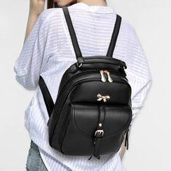 miim - Bow Accent Faux Leather Backpack