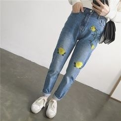 Ashlee - Flower Embroidered Jeans