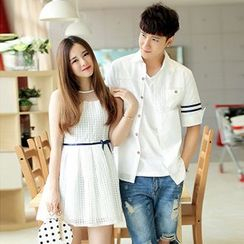 Azure - Couple Matching Short-Sleeve Shirt / Sleeveless Dress
