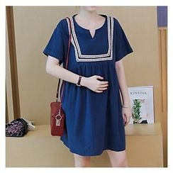 NEUF - Maternity Short-Sleeve Pleated A-line Dress