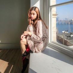 Seoul Fashion - Tie-Front Patterned Long Chiffon Dress