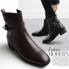 Reneve - Square-Toe Belted Ankle Boots