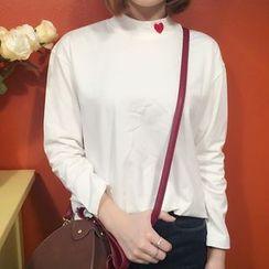 YUKISHU - Heart Embroidered Mock Neck Long Sleeve T-Shirt