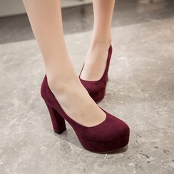 Pretty in Boots - Faux Suede Platform Pumps