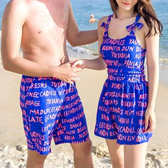 Roseate - Couple Matching Letter Swimdress / Swim Shorts