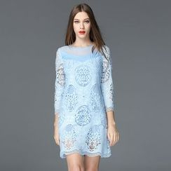 Seagrass - 3/4-Sleeve Lace Tunic