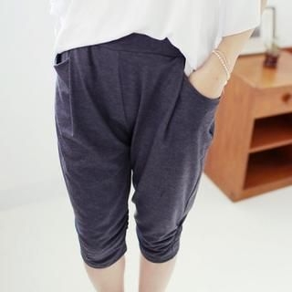 Soneed - Shirred-Knee Cropped Harem Pants