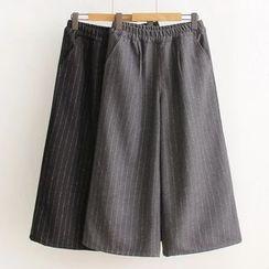 HANIA - 細直條紋針織寬腿褲