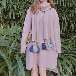 HL哈嘍妹妹 - 套裝: V領長袖連衣裙 + 吊蘇圍巾