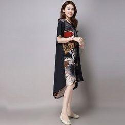 Splashmix - Short-Sleeve Printed-Panel Dress