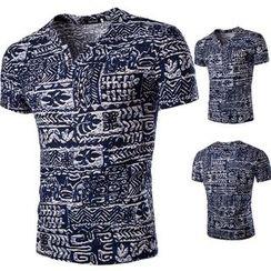 Hansel - Printed V-Neck Short-Sleeve T-Shirt