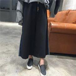 Eva Fashion - 配色边宽腿长裤