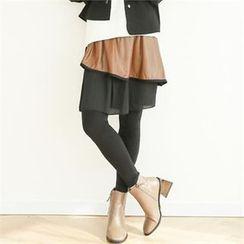 GLAM12 - Inset Layered Skirt Leggings
