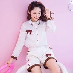 Fairyland - Set: Bear Embroidered Shirt + Embroidered Shorts