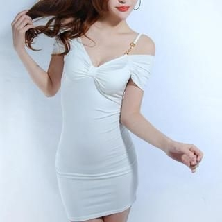 Miss Aries - Bow-Accent Off-Shoulder Bodycon Dress