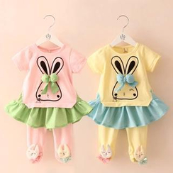 Seashells Kids - Kids Set: Rabbit Print Top + Rabbit Appliqué Inset Leggings Skirt