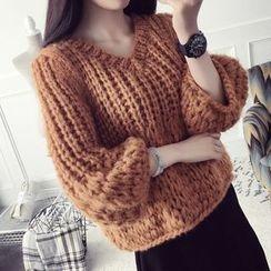 芙苪FR - 粗織V領毛衣