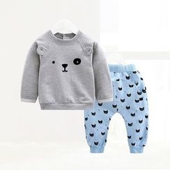 ciciibear - Kids Set: Animal Sweatshirt + Print Sweatpants