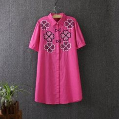 Blue Rose - Clover Embroidered Short Sleeve Shirt Dress