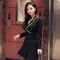 Seoul Fashion - Ruffle-Hem Tweed-Trim Mini Sheath Dress