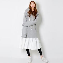 FASHION DIVA - Hooded Ruffle-Hem Pullover Dress