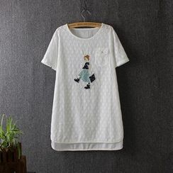 Blue Rose - Applique Short-Sleeve T-Shirt