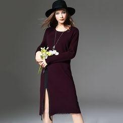 Y:Q - Lace Hem Long Sleeve Side Slit Midi Knit Dress