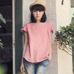 Tokyo Fashion - Checked Bow-Back Cap-Sleeve Top
