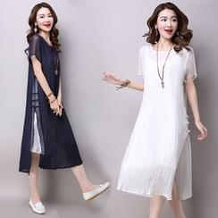 Salisha - Set: Slit Short-Sleeve Midi Dress + Slipdress