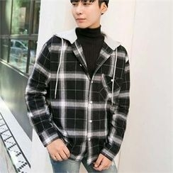 STYLEMAN - Check-Pattern Hoodie Shirt Jacket