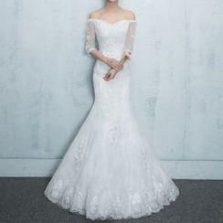 Luxury Style - Lace Off-Shoulder Mermaid Wedding Dress