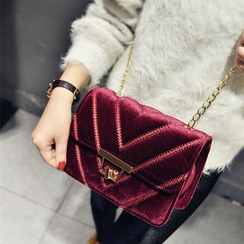 Rosanna Bags - Chain Strap Velvet Crossbody Bag